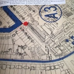 Map  showing Head Air Raid Warden's home in Queens Terrace and phone for summoning Fire Brigade