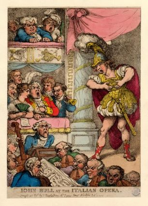 John Bull at the Italian Opera, Pantheon Oxford Street, by Thomas Rowlandson 1811 Gardner Box 47 No 32a    Westminster Archives
