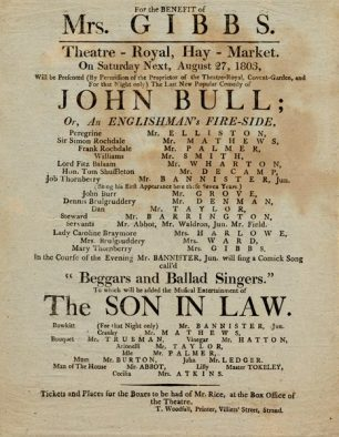 John Bull Playbill 1803 | Westminster Archives