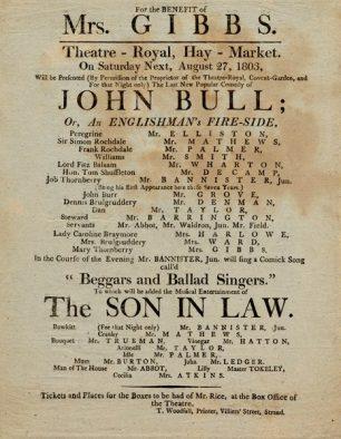 John Bull Playbill 1803   Westminster Archives