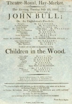 John Bull Playbill | Westminster Archives