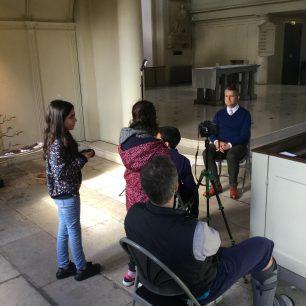 Led by Digital Works, Barrow Hill School students interview headteacher David Tomlinson at St Johns Wood Church