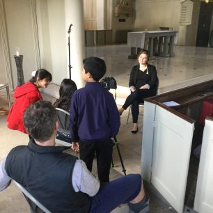 Led by Digital Works, Barrow Hill School students interview volunteer Thea Rogerson at St Johns Wood Church