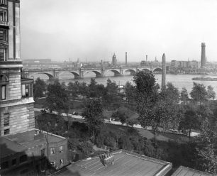 M131 (003a-b) View of River Thames, Waterloo Bridge and Cleopatra's Needle from Adelphi Terrace]  1901   Westminster Archives