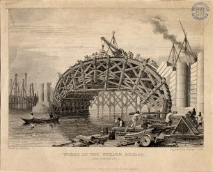 Gardner Box 17 No 01a [Works of the Strand Bridge, taken in the year 1815] Waterloo Bridge 1829   Westminster Archives