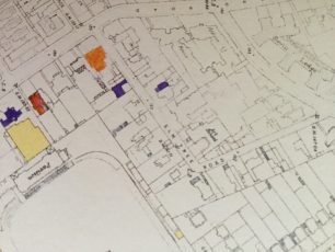 Elm Tree Road bomb sites - purple shows total destruction