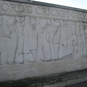 Frieze in bas relief at Lord's cricket ground sculptor Gilbert Bayes