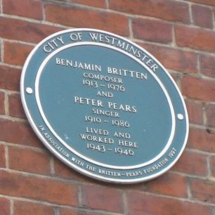 Green Plaque to Benjamin Britten and Peter Pears