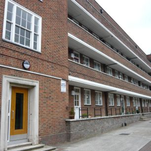 Courtyard view  of St Marylebone Housing Association (now Octavia Housing) flats in Cochrane Street