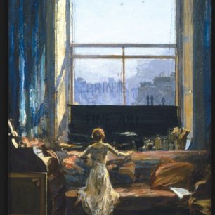Daylight raid from my studio window painted by Sir John Lavery (1856 - 1921)