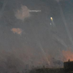 Zeppelin raid over London 8 September 1915 painted by John Fraser (1858 - 1927)