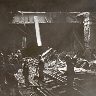 Bomb damage at Lords station  - car store above (c)Tfl from the London Transport Museum collection