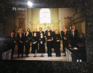 Chamber choir in St John's Wood church 2018 (Michael Cayton on extreme left and Colin Stuart on extreme right)