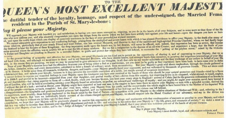 Loyal address  to Queen Caroline from the married females of St Marylebone (Westminster City archives)