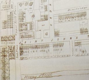 Map showing Edward Street, later named Aquila Street, in 18??