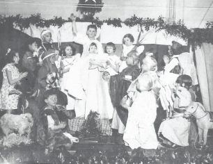 Barrow Hill School Nativity Play  1937 Neville Peerless as an angel with  his future wife,  Margaret Pepper,  in flowered frock on left