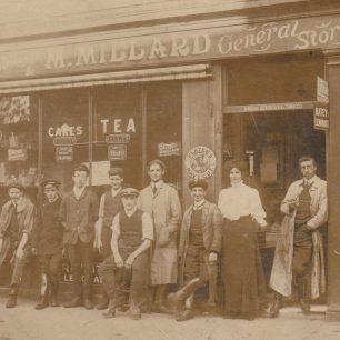 Millard Stores - Reuben third from left,  Harold seated