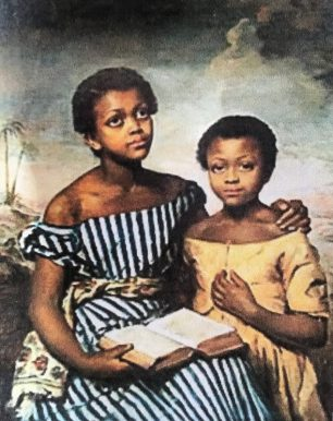 Two black girls painted by Emma Jones