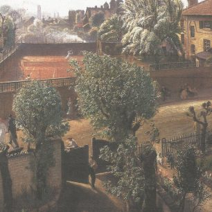 View from Laura Knight's house in Langford Place with chapel spires in distance by  Laura Knight
