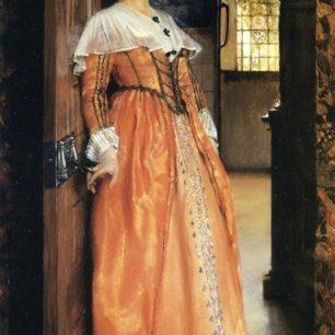 At the doorway by Lady Laura Alma Tadema