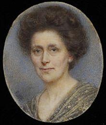 Self portrait miniature by Rosalie M Emslie