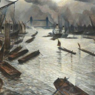 View on the Thames (Tower Bridge from the Pool of London) by  Christopher Nevinson,   The Royal Institute of British Architects