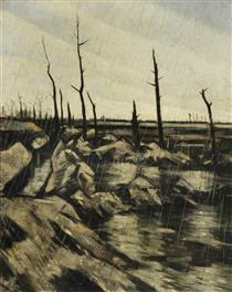 Rain and mud after the battle by C E Nevinson