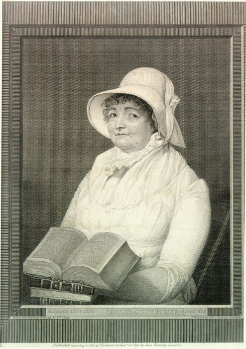 Joanna Southcott (1750-1814), religious prophetess drawn by Jane Townley and engraved by William Sharp in 1812. Joanna Southcott is buried at St John's Wood Chapel | Copyright Westminster City Archives