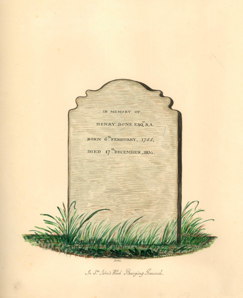 Watercolour of Henry Bone's tombstone in St John's Wood burial ground, painted by Thomas Gosden | Copyright Westminster City Archives