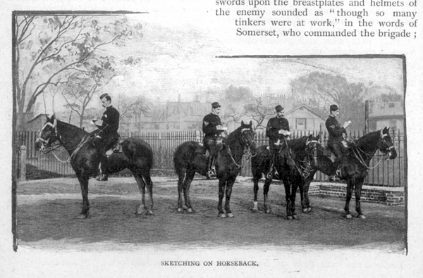 Sketching On Horseback. View of members of the King's Troop Royal Horse Artillery, based at St John's Wood Barracks, taken from Cassells Family Magazine, 1897, p170