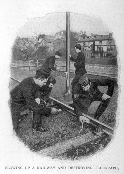 Blowing Up A Railway And Destroying Telegraph. View of members of the King's Troop Royal Horse Artillery, based at St John's Wood Barracks, taken from Cassells Family Magazine, 1897, p171