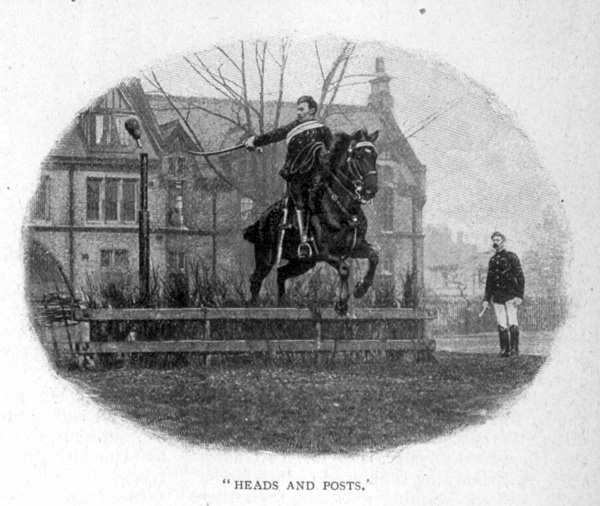 Heads and Posts. View of members of the King's Troop Royal Horse Artillery, based at St John's Wood Barracks, taken from Cassells Family Magazine, 1897, p173