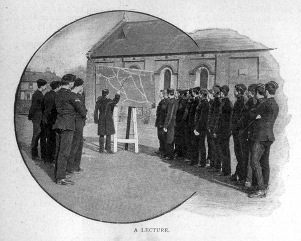 A Lecture. View of members of the King's Troop Royal Horse Artillery, based at St John's Wood Barracks, taken from Cassells Family Magazine, 1897, p174/1