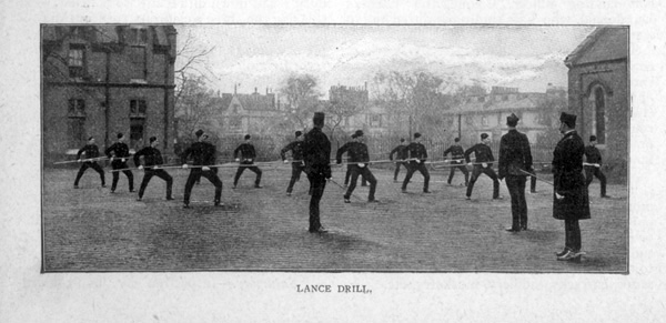 Lance Drill. View of members of the King's Troop Royal Horse Artillery, based at St John's Wood Barracks, taken from Cassells Family Magazine, 1897, p174/2