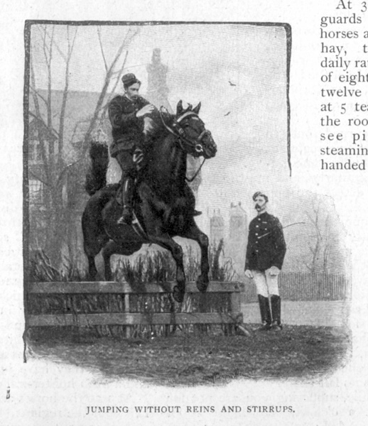 Jumping Without Reins And Stirrups. View of members of the King's Troop Royal Horse Artillery, based at St John's Wood Barracks, taken from Cassells Family Magazine, 1897, p176