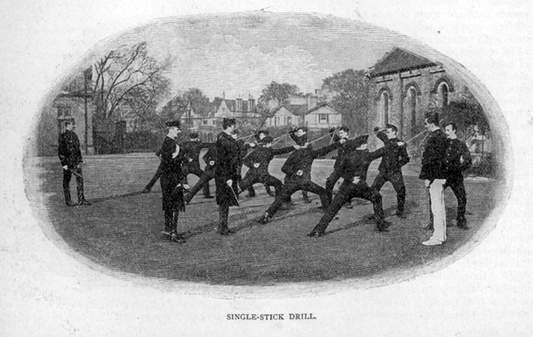 Single-Stick Drill. View of members of the King's Troop Royal Horse Artillery, based at St John's Wood Barracks, taken from Cassells Family Magazine, 1897, p178