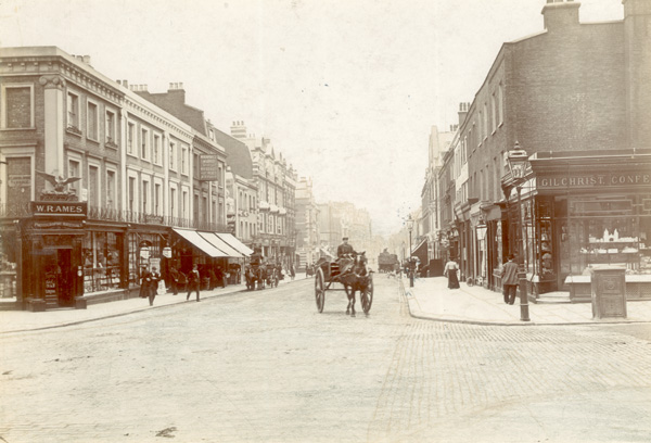 View of 102-142 St Johns Wood High Street looking south down the street from the junction with St John's Wood Terrace abd Circus Road, c1900 | Copyright Westminster City Archives