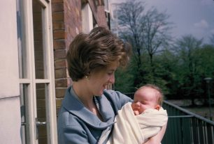 My sister and her baby on the balcony with no buildings in St Johns Wood Park 1959 | Bridget Clarke