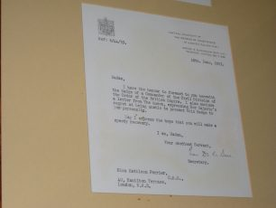 Letter to Kathleen at 40 Hamilton Terrace awarding her the CBE | photo by Jeanne Strang