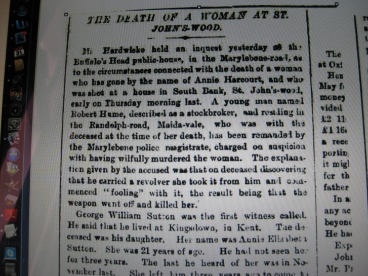Death of a Woman at St John's Wood | © British Newspaper Archives