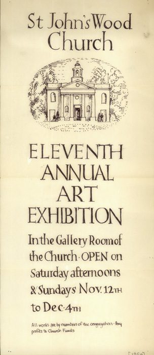 Poster advertising the Eleventh Annual Art Exhibition in St John's Wood Church, 1960 | Copyright Westminster City Archives