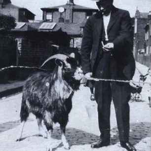 Norman Leslie Harnden with local barracks mascot