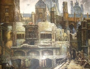 Frank Beresford Destruction of the House of Commons   Westminster Archives
