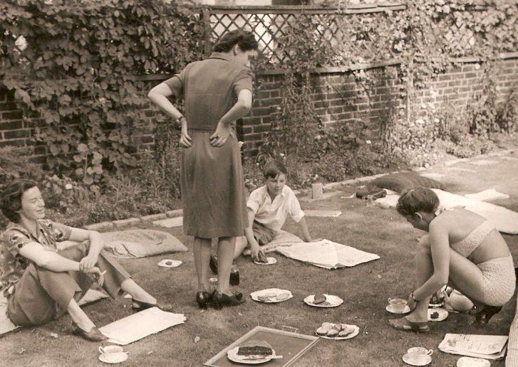 52 Carlton Hill 1947 left to right: Pamela Frankau, Ursula D'Arch Smith, author, Bobby Carrington   Tim D'Arch Smith