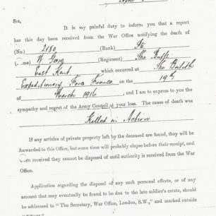 Letter notifying death of W. Geere | The Geere family