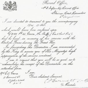 Letter re award of 1914-1915 star | The Geere family