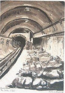 The tube shelter painted by Olga Lehman