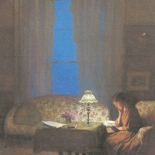 Reading by lamplight 1909