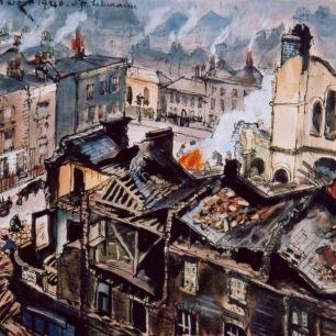 Air Raid near Barrow Hill 1940 by Olga Lehmann