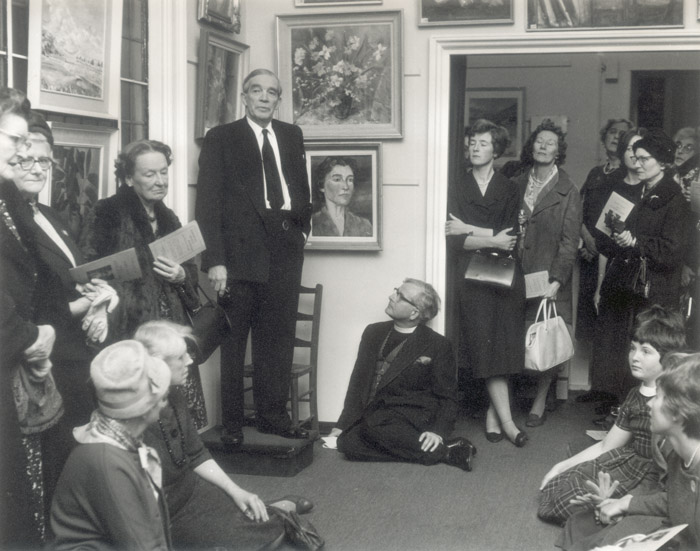 View of the opening of the Twelth Annual Art Exhibition in St St John's Wood Church, 1961. Photograph by L G Aubin | Copyright Westminster City Archives